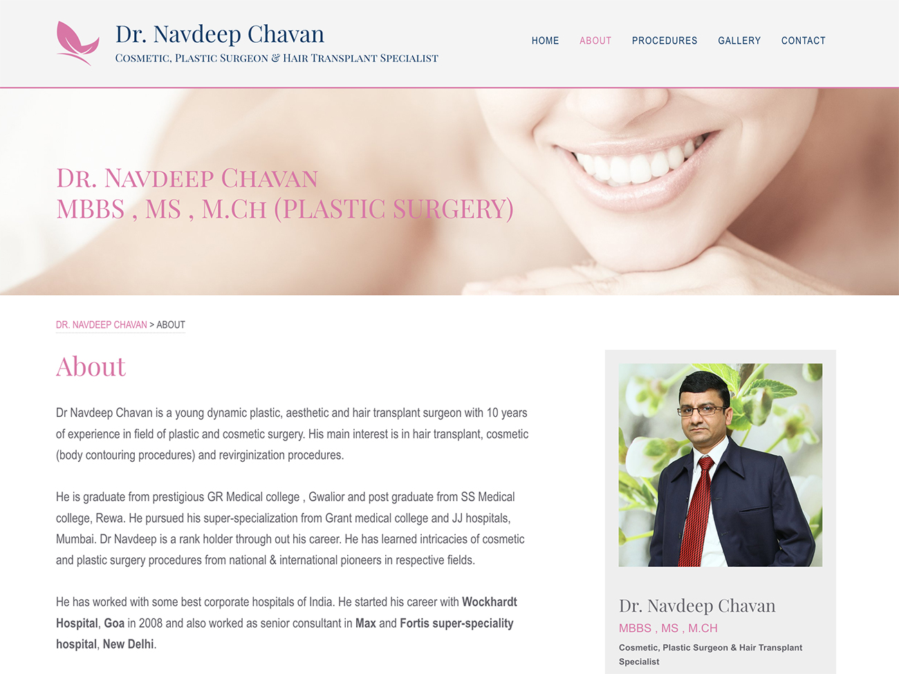 Inner page view for DrNavdeepChavan.Com