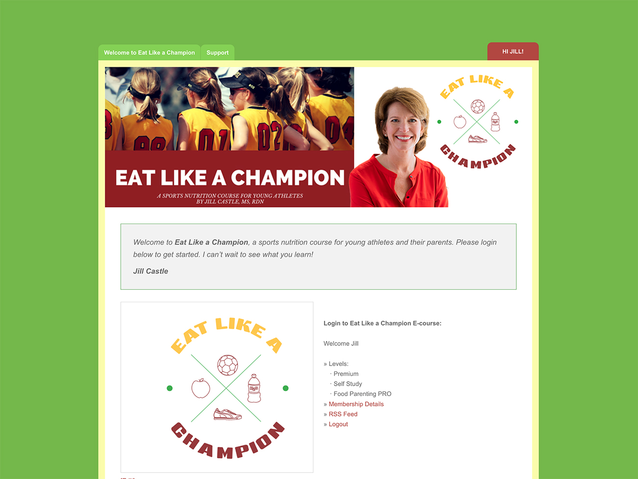 Login view of Nutrition Prep School