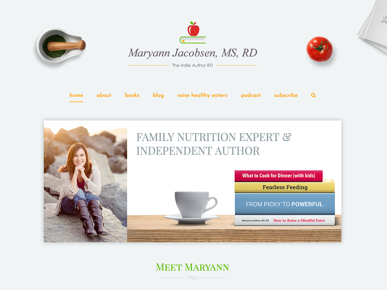 Complete website design for Maryann Jacobsen