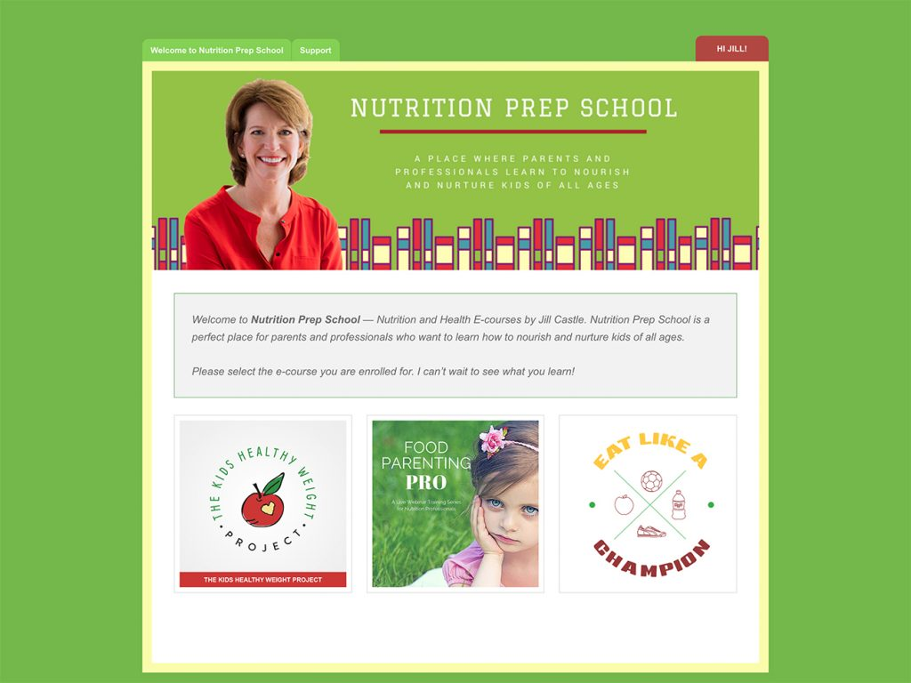 Nutrition Prep School — A membership platform for selling e-courses offered by Jill Castle